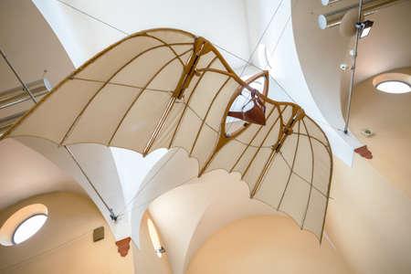 leonardo da vinci: MILAN, ITALY - JUNE 9, 2016: flying machine models of Leonardo da Vincis scientific studies displayed at the Science and Technology Museum Leonardo da Vinci
