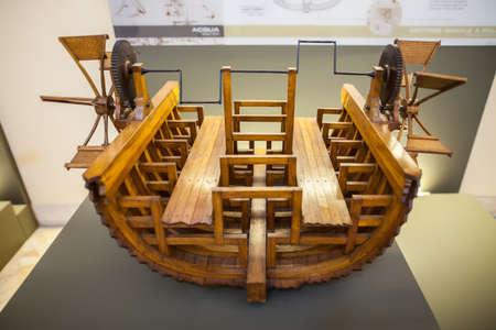 leonardo davinci: MILAN, ITALY - JUNE 9, 2016: paddle boat models of Leonardo da Vincis scientific studies displayed at the Science and Technology Museum Leonardo da Vinci Editorial