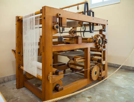 MILAN, ITALY - JUNE 9, 2016: mechanical loom models of Leonardo da Vincis scientific studies displayed at the Science and Technology Museum Leonardo da Vinci