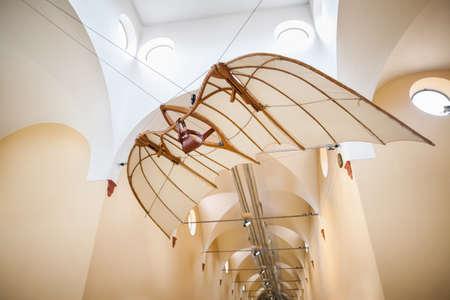 leonardo davinci: MILAN, ITALY - JUNE 9, 2016: flying machine models of Leonardo da Vincis scientific studies displayed at the Science and Technology Museum Leonardo da Vinci