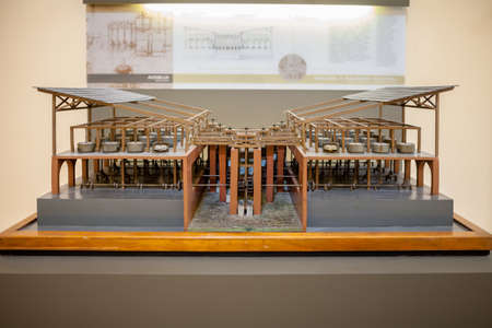 science scientific: MILAN, ITALY - JUNE 9, 2016: multiple- cylinder mill models of Leonardo da Vincis scientific studies displayed at the Science and Technology Museum Leonardo da Vinci Editorial
