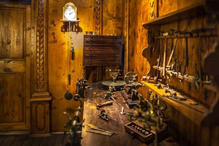 leonardo da vinci: MILAN, ITALY - JUNE 9, 2016: watchmakers workshop at the Science and Technology Museum Leonardo da Vinci Editorial
