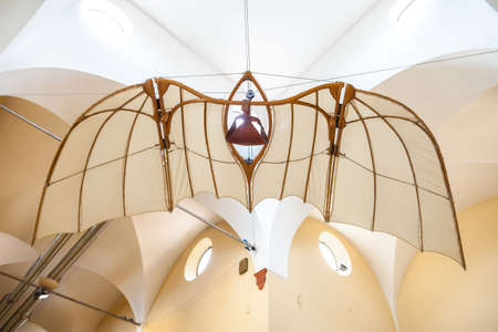 MILAN, ITALY - JUNE 9, 2016: flying machine models of Leonardo da Vincis scientific studies displayed at the Science and Technology Museum Leonardo da Vinci