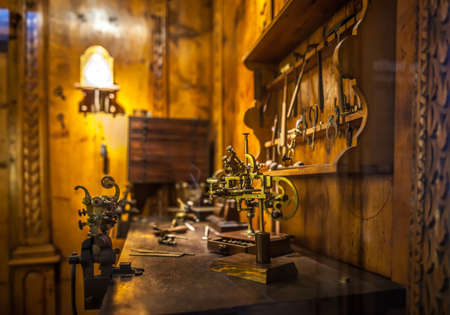 MILAN, ITALY - JUNE 9, 2016: watchmakers workshop at the Science and Technology Museum Leonardo da Vinci Editorial