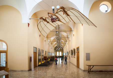 popular science: MILAN, ITALY - JUNE 9, 2016: flying machine models of Leonardo da Vincis scientific studies displayed at the Science and Technology Museum Leonardo da Vinci