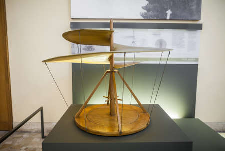 MILAN, ITALY - JUNE 9, 2016: air screw models of Leonardo da Vincis scientific studies displayed at the Science and Technology Museum Leonardo da Vinci