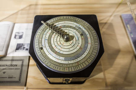 MILAN, ITALY - JUNE 9, 2016: retro measuring instrument at the Science and Technology Museum Leonardo da Vinci