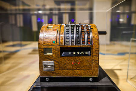 MILAN, ITALY - JUNE 9, 2016: retro cash register at the Science and Technology Museum Leonardo da Vinci