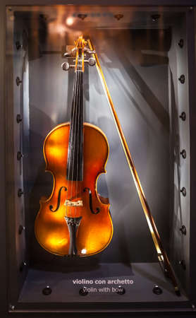 MILAN, ITALY - JUNE 9, 2016: antique violin at the Science and Technology Museum Leonardo da Vinci
