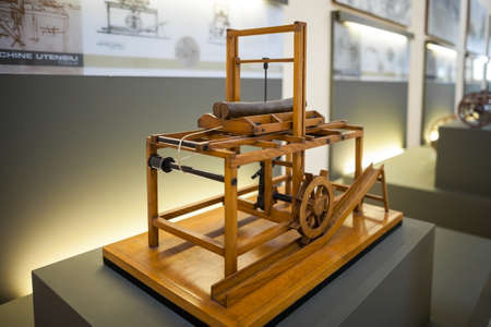 MILAN, ITALY - JUNE 9, 2016: hydraulic saw model of Leonardo da Vincis scientific studies displayed at the Science and Technology Museum Leonardo da Vinci