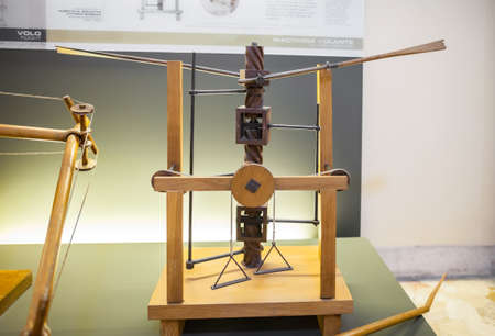 science scientific: MILAN, ITALY - JUNE 9, 2016: wing-beating device with a screw and lead system models of Leonardo da Vincis scientific studies displayed at the Science and Technology Museum Leonardo da Vinci Editorial
