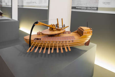 MILAN, ITALY - JUNE 9, 2016: mobile ram boats models of Leonardo da Vincis scientific studies displayed at the Science and Technology Museum Leonardo da Vinci