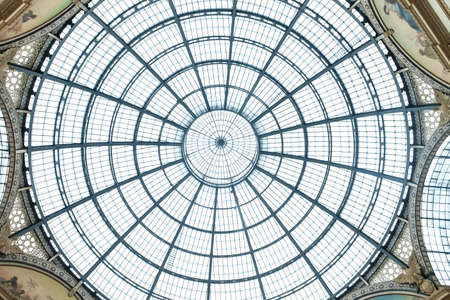 dome: MILAN, ITALY - JUNE 8, 2016: Glass dome of Galleria Vittorio Emanuele II shopping gallery