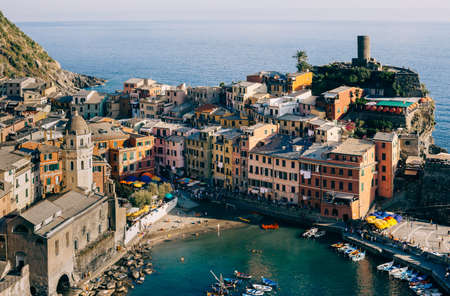 city park boat house: Scenic view of colorful village Vernazza in Cinque Terre, Italy. Top view