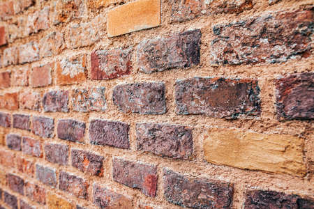 interior walls: Perspective view of red grunge brick wall background