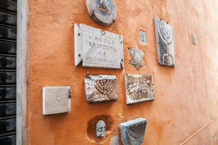 hebraism: Old Jewish symbols in ghetto of Rome, Italy