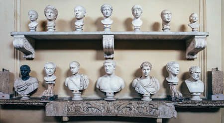 busts: VATICAN, ROME, ITALY - JUNE 4, 2016: Antique Italian busts in the Vatican Museum