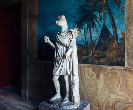mummification: VATICAN, ROME, ITALY - JUNE 4, 2016: Statue of the god Anubis, lord of mummification in the Vatican Museum Editorial