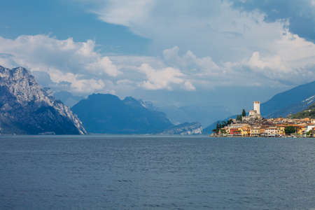 italy background: Scenic view of Malcesine on beautiful Garda lake, Italy. Travel background