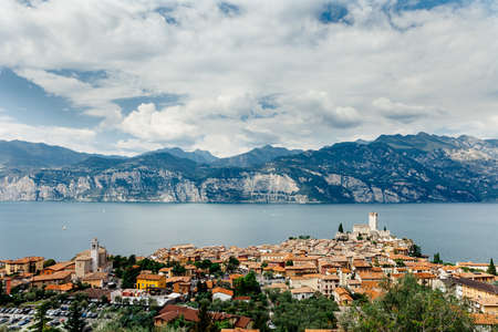 Scenic view of Malcesine on beautiful Garda lake, Italy. Travel background