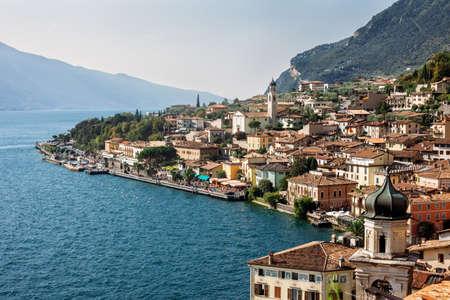 italy background: Panorama of beautiful village Limone sul Garda, Italy. Travel background Stock Photo