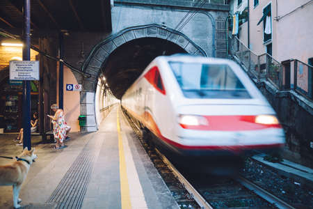 MANAROLA- ITALY: SEPTEMBER, 03 2016: High speed electric train at the railway station
