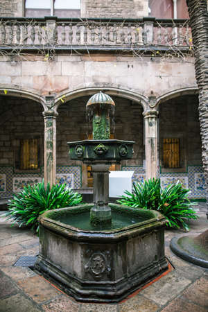 colonnade: Courtyard of a gothic building in Barcelona. Casa de lArdiaca Barcelona - Archdeacons House