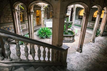 Courtyard of a gothic building in Barcelona. Casa de lArdiaca Barcelona - Archdeacons House