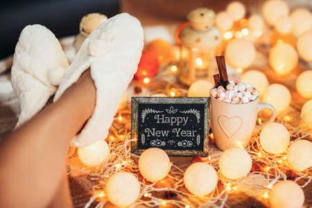 Happy New Year background 2018. Winter holiday concept Stok Fotoğraf