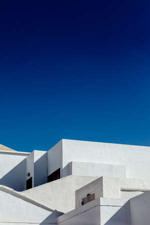 Abstract fragment of white architecture house in Lanzarote. Traditional building exterior. background Stock Photo