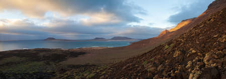 Beautiful panorama landscape of volcanic island Lanzarote, Canary Islands, Spain. Travel destination