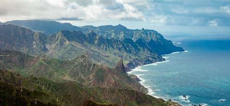 Beautiful volcanic island Tenerife - panorama top view from Mirador Cabeza de Tejo, Parque Rural Anaga, anaga