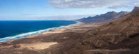 Top view beautiful panorama seascape of Fuerteventura island, Canary islands, Spain. Nature background Фото со стока