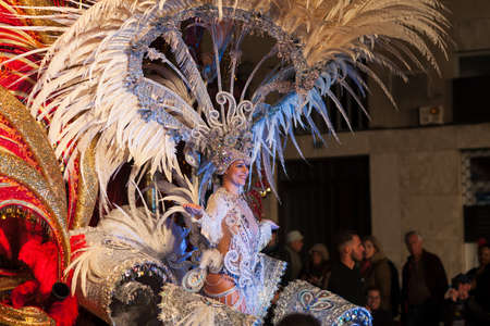 SANTA CRUZ DE TENERIFE, SPAIN- FEBRUARY 09, 2018: Queen of the Carnival. ?andidates parade in The Carnival of Santa Cruz de Tenerife