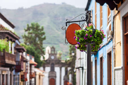 Small beautiful spanish town Teror, Gran Canaria, Canary Islands, Spain. Travel background