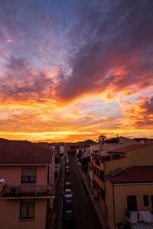 Amazing colorful sunset on Italy town, Sardinia island