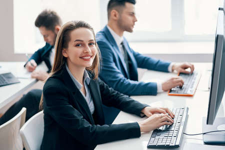 Business people working on computer in his workplace
