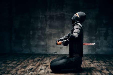 Japanese Ninja doing harakiri