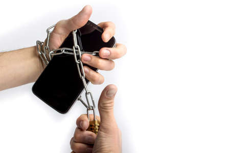 phone in hand wrapped chain