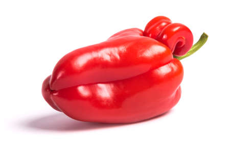 Ugly shaped organic vegetables. Deformed homegrown bell pepper isolated on white background Banco de Imagens