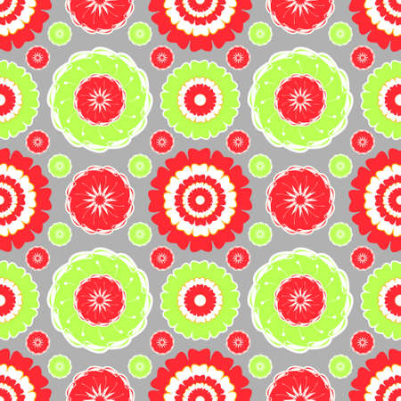 Red and Lime-green Floral Pattern for various textile and paper based projects