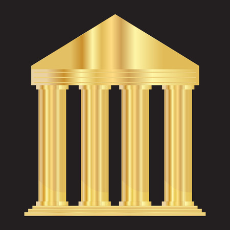 Vector illustration of gold entrance to the building