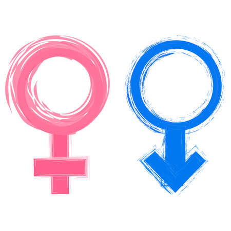romantic sex: Vector illustration of male and female gender symbols