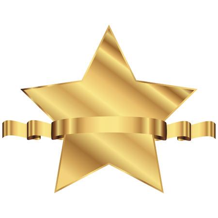 Vector illustratie van de gouden ster met glanzende lint met ruimte voor uw tekst