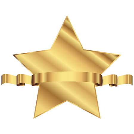 Vector illustration of gold star with shiny ribbon with space for your text