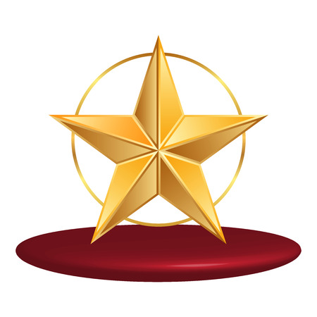 Vector illustration of gold star with red status