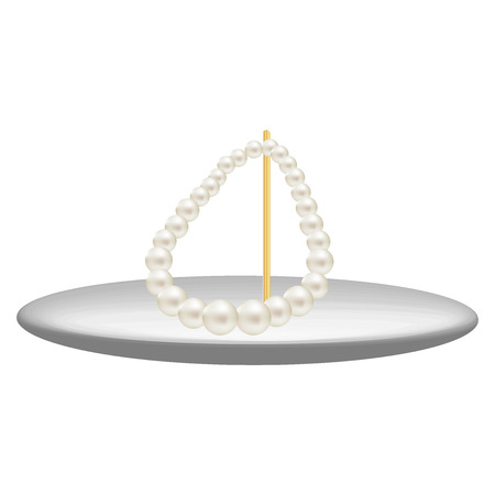 tawdry: Vector illustration of pearl necklace stands at gold stick
