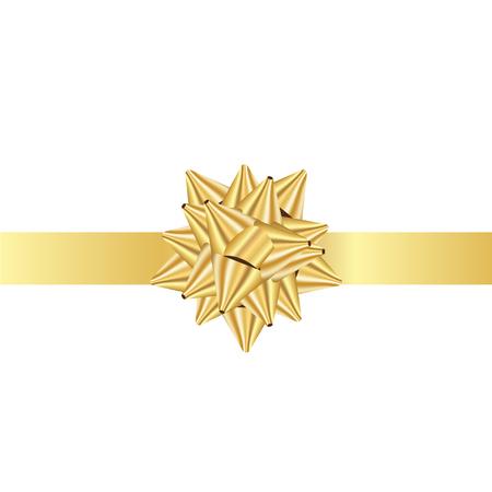 gold ribbon: Vector illustration of gold Ribbon bow Illustration