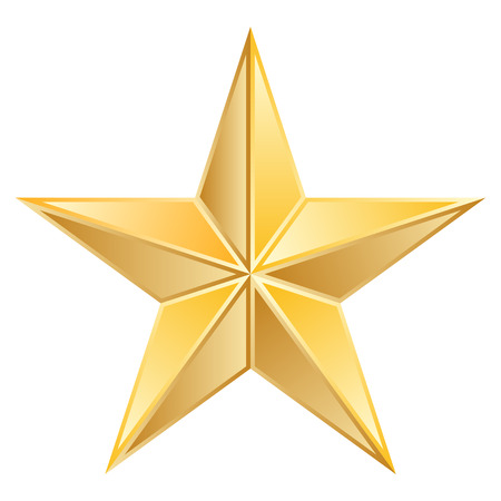 five pointed: Vector illustration of Gold Star