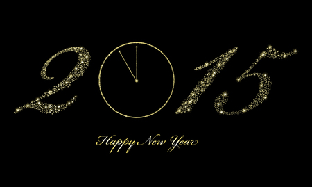 Vector illustration of happy new year with sparkling stars